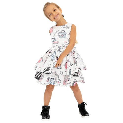 Платье Gulliver размер 98, белый платье oodji ultra цвет красный белый 14001071 13 46148 4512s размер xs 42 170