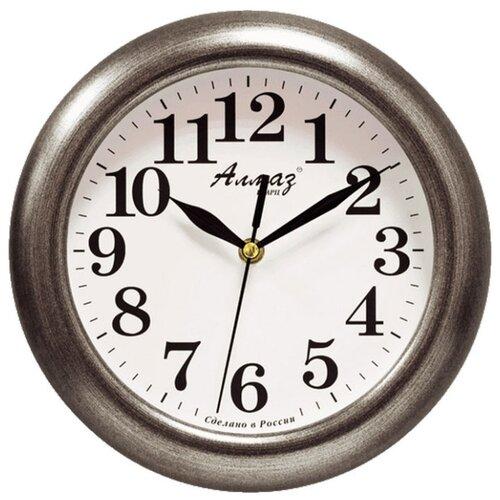 Часы настенные кварцевые Алмаз P04-P10 темно-серебристый/белый часы настенные кварцевые алмаз p04 p10 бежевый белый
