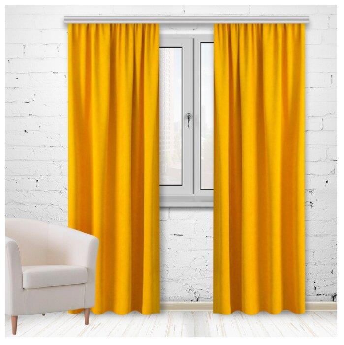 Портьеры МирТек Madras на ленте 280 см D115 медово-желтый