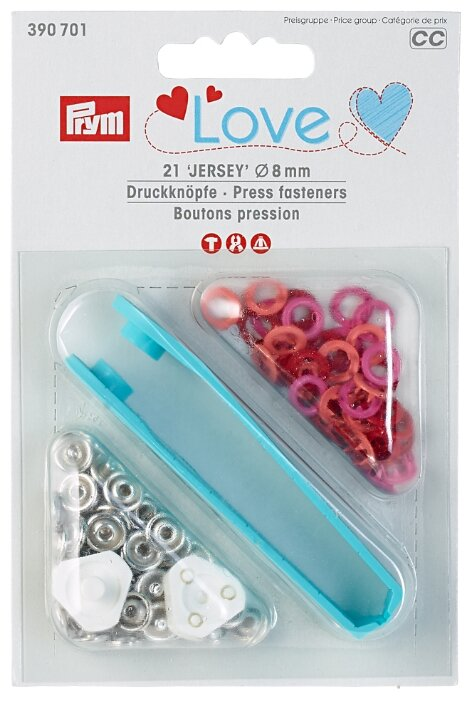 Prym Кнопки непришивные Love Джерси (390700, 390701,390703), 8 мм, 21 шт.