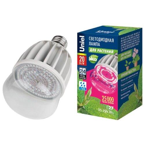 Лампа светодиодная для растений Uniel ALS55WH, E27, 20Вт светильник для растений uniel uli p10 10w spfr ip40 white светодиодный линейный 550мм