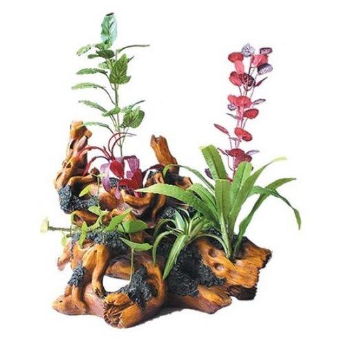 Коряга для аквариума KW Zone с растениями U-286 24.5х24х27.5 см зеленый/красный/коричневый декорация для аквариума artuniq ветвистая коряга с анубиасом нана 28 x 11 x 20 см
