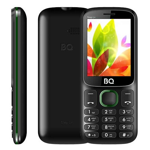 Телефон BQ 2440 Step L+ черный / зеленый телефон