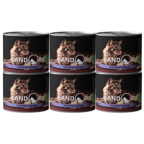 Корм для пожилых кошек Landor с телятиной, с сельдью 6шт. х 200 г корм для кошек landor тунец