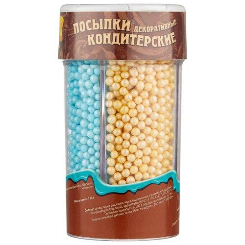 Парфэ посыпки кондитерские декоративные Шарики, Жемчуг 132 г голубой/белый/бежевый/розовый