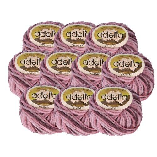 Купить Пряжа Adelia Emma секционного окрашивания, 20 % шерсть, 80 % акрил, 50 г, 50 м, 10 шт., №06 розово-бордовый