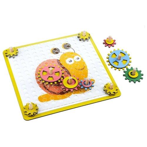 Развивающая игрушка Большой слон Шестеренки желтый/розовый