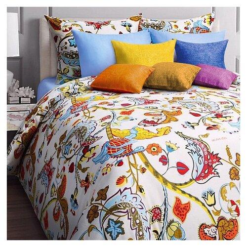 цена Постельное белье 2-спальное Mona Liza Baileys 50х70 см, бязь белый/голубой онлайн в 2017 году