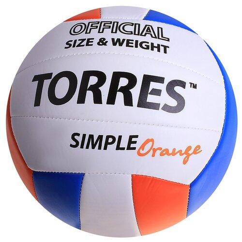 Волейбольный мяч TORRES SIMPLE ORANGE оранжевый/белый/синий волейбольный мяч torres simple color