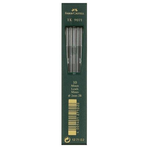 Фото - Faber-Castell Грифели для цанговых карандашей TK 9071, 2,0 мм, 2B, 10 штук черный канцелярия faber castell грифели для механических карандашей polymer 0 7 мм hb 12 шт