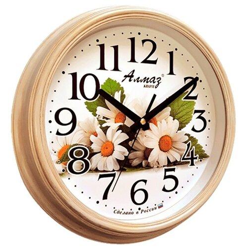 Часы настенные кварцевые Алмаз A30/A31/A32/A33 бежевый/белый часы настенные кварцевые алмаз c04 c10 бежевый с рисунком белый