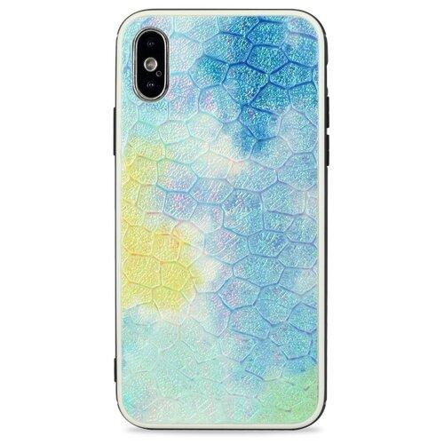 Кожаный чехол с защитным силиконовым бампером для iPhone X и XS / Глянцевая накладка с рельефной эко-кожей на Айфон Х и Хс (Синий)