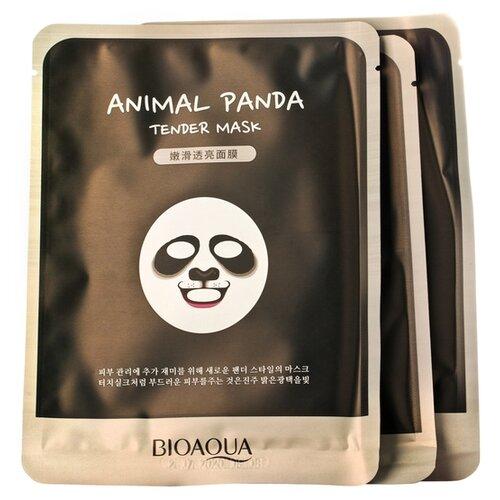 BioAqua Animal Face Panda Смягчающая тканевая маска для лица, 30 г, 3 шт. маска для лица bioaqua bioaqua bi025lwdjge1