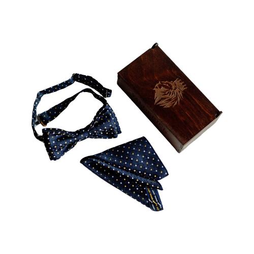 Комплект из 2 предметов Valderice галстук-бабочка и платок VLD0408 темно-синий