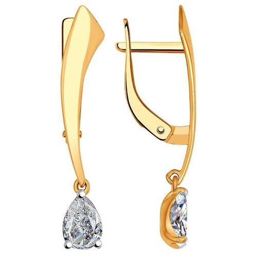 SOKOLOV Серьги Капли с 2 фианитами из красного золота 027004 серьги из золота д0268 027004