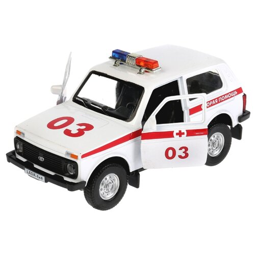 Купить Внедорожник ТЕХНОПАРК Lada 4x4 Скорая помощь (LADA4X4-AMB-SL) 12 см белый, Машинки и техника