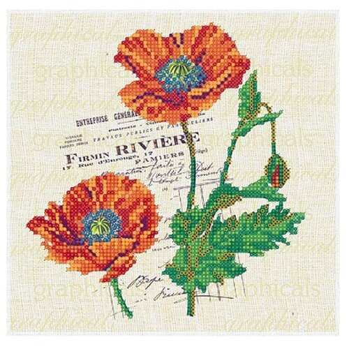 Купить Канва для вышивания с рисунком Alisena Маки вышивка бисером В1148 20 х 20 см бежевый