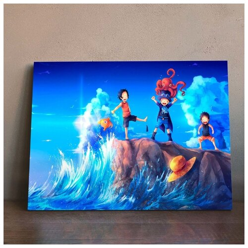 Картина по аниме Ван Пис - Юность 50х70 см. натуральный холст