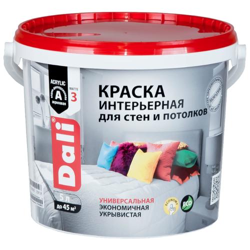 Краска акриловая DALI Для стен и потолков матовая белоснежный 5 л