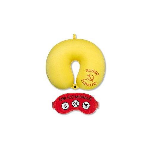 Антистрессовая подушка для шеи с маской Штучки, к которым тянутся ручки Облико Морале, желтая с красной маской