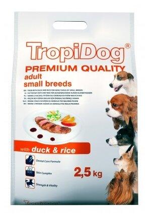Корм для собак TropiDog утка с рисом (для мелких пород)