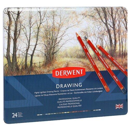 Derwent Цветные карандаши Drawing, 24 цвета (0700672) карандаши цветные krasin веселый кролик 24 шт