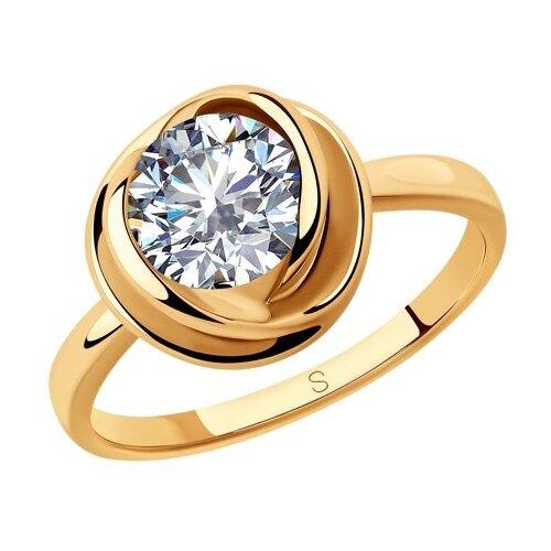 SOKOLOV Кольцо из золочёного серебра с фианитом 93010793, размер 16.5 фото