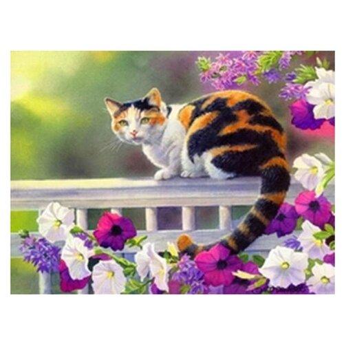 Купить Рыжий кот Картина по номерам Кошка на заборе 40x50 см (G3013), Картины по номерам и контурам