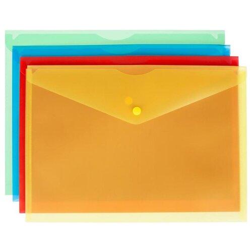 папка конверт deli bumpees ez65102 на кнопке цвет в ассортименте 1028921 формат a4 Attache Папка-конверт на кнопке Fantasy A4, пластик, 8 шт в ассортименте