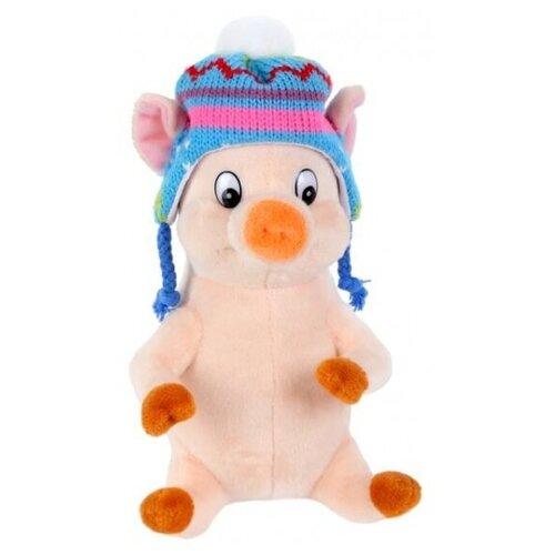 Мягкая игрушка Играем Вместе Поросёнок в шапке с помпоном, 17 см