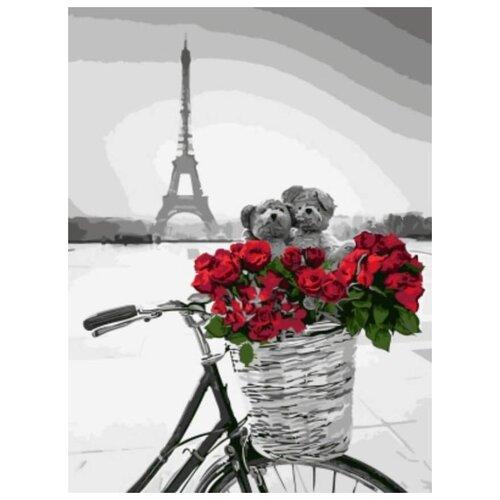 Картина по номерам Цветной Красные цветы в корзинке на фоне Эйфелевой башни, 30x40 см картина постер в раме postermarket эйфелевой башни 27х32см