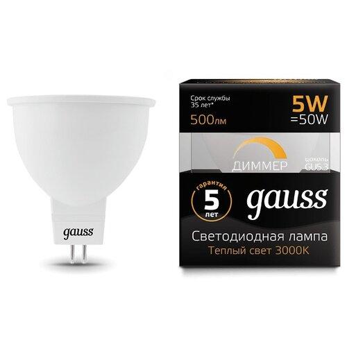 Лампа светодиодная gauss 101505105-D 3000K, GU5.3, MR16, 5Вт лампа светодиодная gauss 101505205 d gu5 3 jcdr 5вт