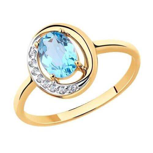 Diamant Кольцо из золота с топазом и фианитами 51-310-00224-1, размер 18 diamant кольцо из золота с топазом и фианитами 51 310 00292 1 размер 18