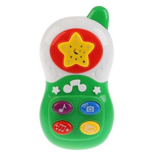 Интерактивная развивающая игрушка Умка Развивающий телефон с проектором, белый/зеленый