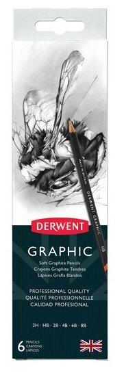 Derwent Набор чернографитных карандашей Graphic 6 шт с точилкой (0700835)