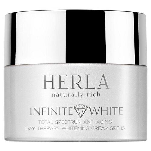 HERLA Infinite White total spectrum anti-aging day therapy whitening cream SPF 15 Отбеливающий дневной крем для лица против морщин SPF 15, 50 мл