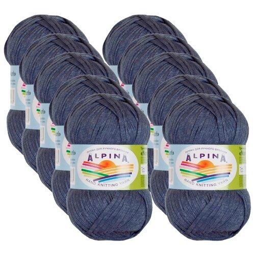 Пряжа Alpina Nori, 44 % хлопок, 56 % акрил, 50 г, 100 м, 10 шт., №12 синий