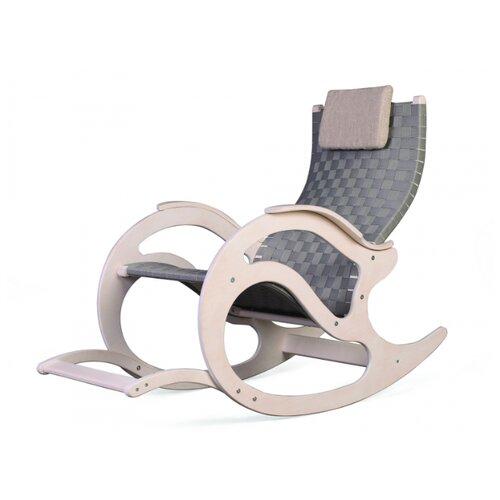 Кресло-качалка Мебелик Тенария 2 размер: 95х56 см, обивка: ткань, цвет: белый ясень/серый