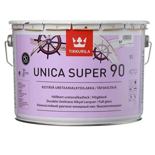 Лак яхтный Tikkurila Unica Super 90 алкидно-уретановый бесцветный 9 л лак tikkurila kiva 30 полиакриловый бесцветный 0 9 л