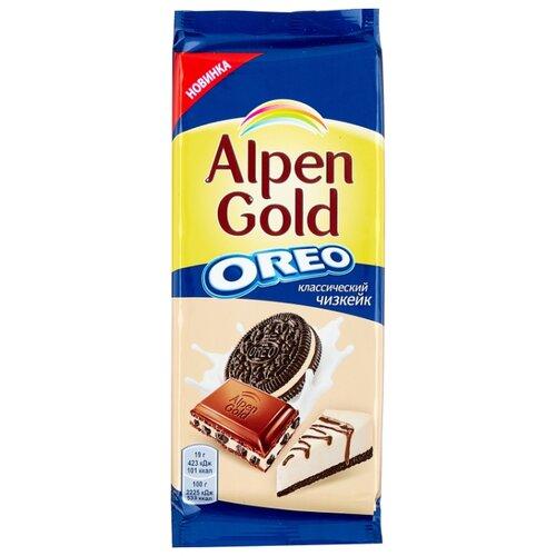 Шоколад Alpen Gold Oreo молочный с дробленым печеньем Орео и начинкой со вкусом чизкейка, 95 г