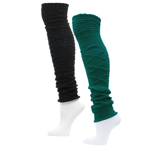 Гетры вязаные шерстяные женские HOSIERY 5454 р 23-25 черный,зеленый 2 пары