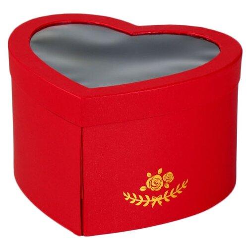 Коробка подарочная Yiwu Zhousima Crafts сердце с окном 25 х 15 х 22 см красный
