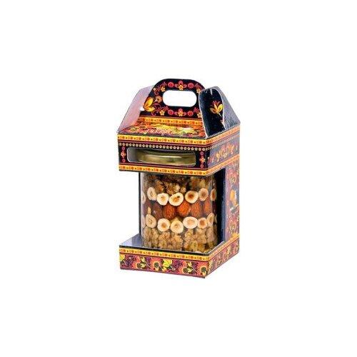 Мед Белка Орехи (ассорти) в медовой заливке 500 г подарочная упаковка
