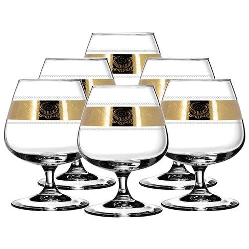 ГУСЬ-ХРУСТАЛЬНЫЙ Набор бокалов для бренди Первоцвет TAV38-1812 6 шт прозрачный/золотой гусь хрустальный набор бокалов для бренди лоза tav116 1812 6 шт прозрачный золотой