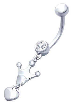 SOKOLOV Пирсинг в пупок «Корона» из серебра с фианитом 94060084