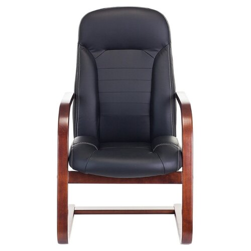 Компьютерное кресло Бюрократ T-9923WALNUT-AV офисное, обивка: натуральная кожа, цвет: черный кресло алвест av 108 pl 727 mk ткань 415 серая с черной ниткой