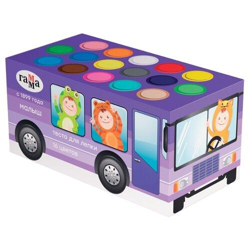 Купить Масса для лепки ГАММА Малыш Автобус 16 цветов (509196), Пластилин и масса для лепки