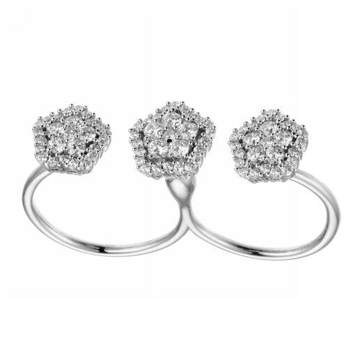 ELEMENT47 Кольцо из серебра 925 пробы с кубическим цирконием CBM0675R_001_WG, размер 17