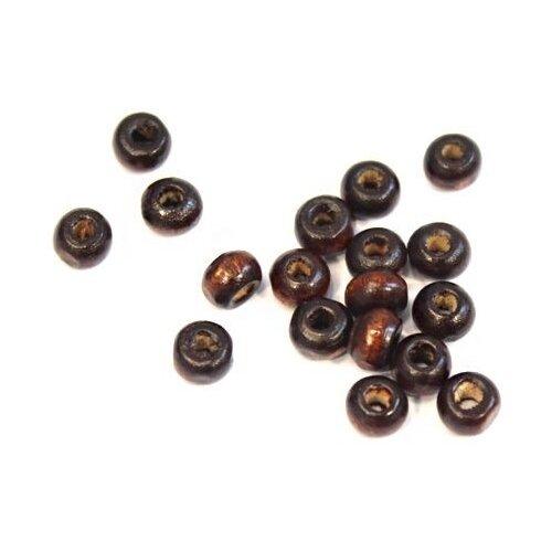 Купить Бусины деревянные, цвет: коричневый, 4x5 мм, 250 штук, арт. WDB0416, Astra & Craft, Фурнитура для украшений