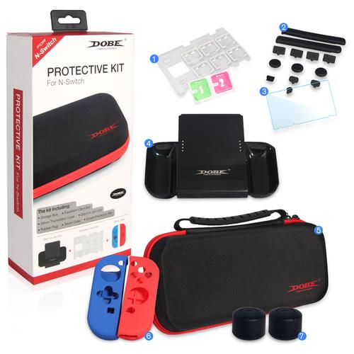 Dobe Комплект аксессуаров Switch Protective Kit для консоли Nintendo Switch (TNS-1749) черный/красный/синий